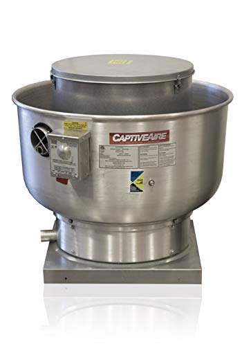 Restaurant Canopy Hood Grease Rated Exhaust Fan- High Speed Direct Drive Centrifugal Upblast Exhaust Fan with speed control- 19' Fan Base, 0.180 HP 115 Volt Single Phase Motor, 100-500 CFM (DU12HFA)