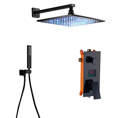 Yxxc Sistema de Ducha LED n con Pantalla Digital, Negro n Mezclador, Juego Combinado de Ducha, Juego de Grifo de Ducha para baño montado en la Pared con Cabezal de Ducha, Ducha de Mano, 8 Pulgadas