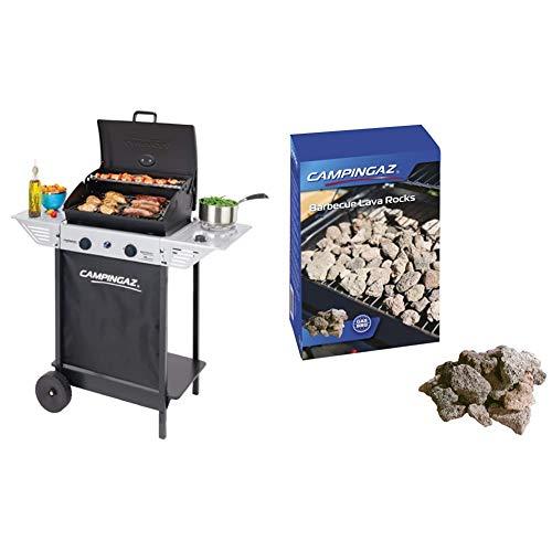 Campingaz BBQ a Roccia Lavica Xpert 100 LS Plus Rocky, Barbecue Grill Compatto a 2 Bruciatori e 1 Fornello Laterale, 7.1 kW di Potenza, 2 Griglie Cromate & Roccia Lavica