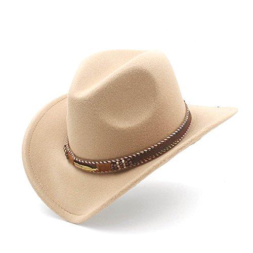 XXY Sombrero de Vaquero con enrollar ala Arriba de Fedora Sombrero Hombre Gorras de Moda (Color : Caqui, tamaño : 56-58cm)