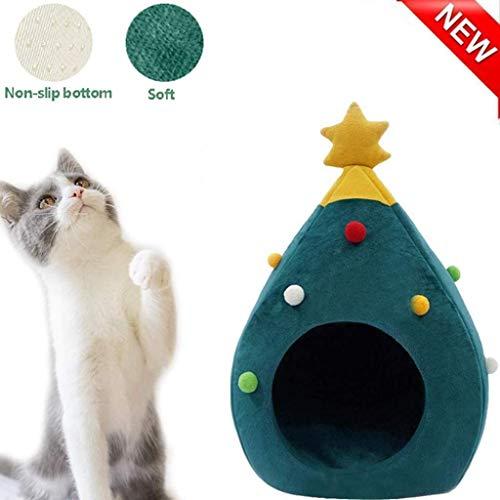 ZGQ Virola de Gato de la Perrera del Animal doméstico Almohadas Navidad Gato, Gato del Gatito Cantina Agradable cómoda Cama cálida Tipos de Cama de Gato a casa por Navidad, Cosy Cat Condo Lug. ✅