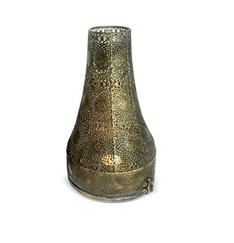mysale24.de Orientalisches Windlich Laterne groß Marokkanisches Windlicht Gartenwindlicht | Marokkanische Metalllaterne für drin und draußen als Gartenlaterne oder Deko ca. 30cm hoch (Bronze, 30 cm)
