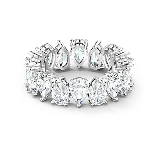 Swarovski Vittore Pear Ring, Size 50, with Brilliant White Swarovski Crystals on a Rhodium Plated Band, Part of the Vittore Collection