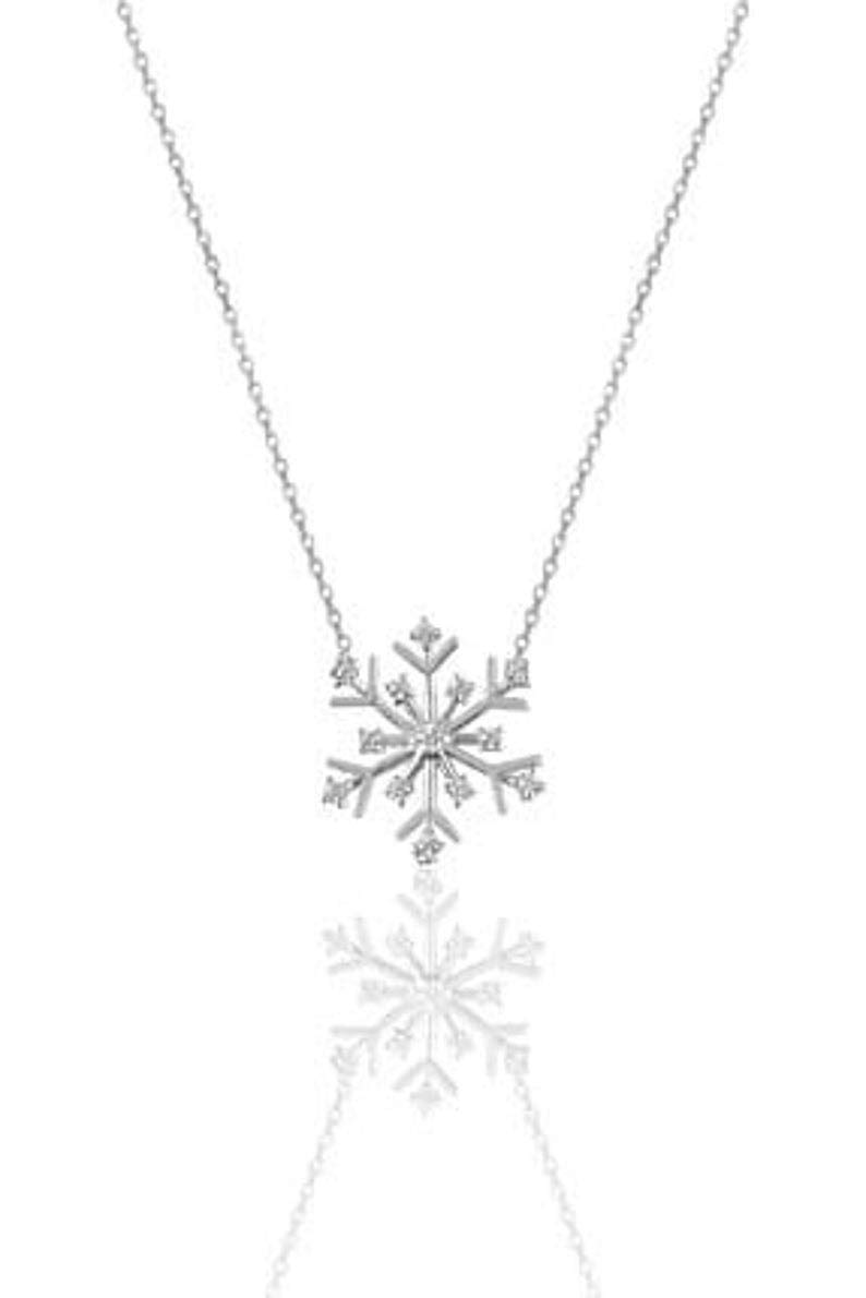 35% OFF 925 Sterling Silver Challenge the lowest price Snowflake Neckl Pendant CZ