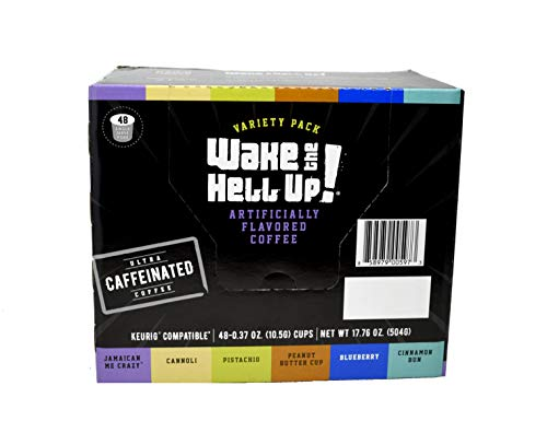 Wake The Hell Up! Variety Pack Flavored Single Serve Coffee Pods | Ultra-Caffeinated Coffee For K-Cup Compatible Brewers | 48 Count, 2.0 Compatible Pods | Perfect Balance of High Caffeine & Great Flavor