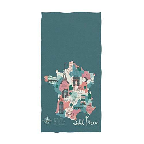 伝説のアイコンとフランスのシンプルな漫画の地図ソフトゲストハンドタオル(40x70cm)