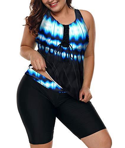 LALAGEN Womens Plus Size Racerback Tankini Set Two Piece Swimsuit with Boyshort Lightning XXXL