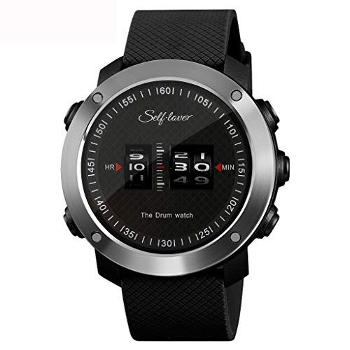 HHyyq Herren Digitale Armbanduhr, Outdoor Laufen wasserdichte militärische Uhren, Cool Sport große Anzeige Sportuhr mit Wecker für Herren(Schwarz)