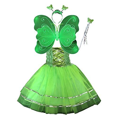 Hada Disfraz - alas de Mariposa niña por 3-8 años - alas de la Mariposa, Tutú, Varita mágica y Diadema establecen (Verde)