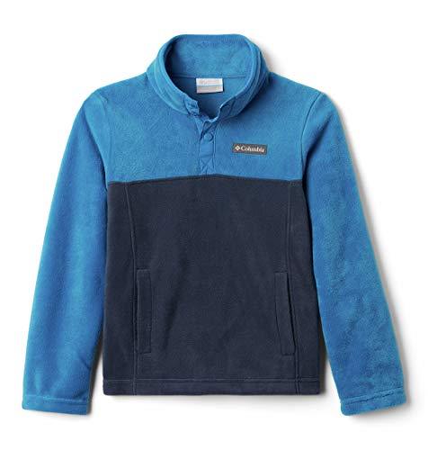 Columbia Steens MTN 1/4 Snap Fleece Pull-Over, Maglie Unisex Bimbi, Collegiate Navy, Bright Indigo, L