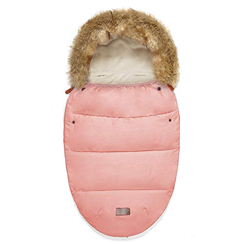 HLSUSAN Universal Pram Footmuffs Fleece Lined Snuggly Cosy Toes Footmuff Bunting Bags Waterproof Fitting for Pushchairs Strollers Prams Buggy Car Seat,Naked pink