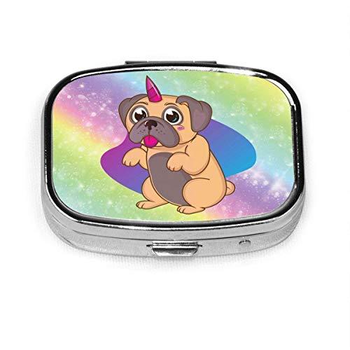 Organizer Regenbogen Einhorn Hundebox Kompakt 2 Fächer Vitamine Tablet Halter Container Metall tragbar für den täglichen Bedarf Reise Geldbörse Tasche