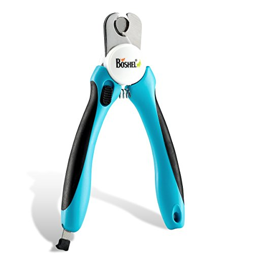Dog Nail Clippers and Trimmer By Boshel - With Safety Guard to Avoid Over-cutting Nails & Free Nail File - Razor Sharp Blades - Sturdy Non Slip...
