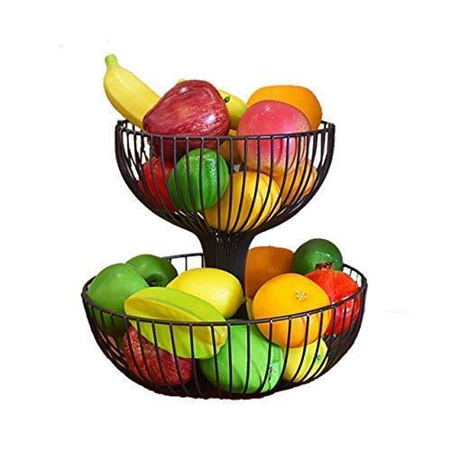 DLILI Soporte para tazón de Cesta de Frutas de encimera de 2 Niveles, Almacenamiento de Pan y Verduras, para Sala de Estar y Mesa de Cocina Moderna (Negro, Blanco), Negro, M, Cesta de Frutas
