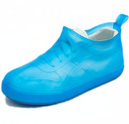 WRMFW Waterproof Rain Boot Shoe Cover The Reusable Slip-Resistant Overshoes with Excellent Elasticity and Foldable[blue-4344]
