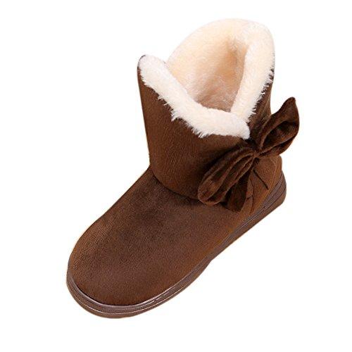MRULIC Bowknot Warme Schuhe Damen Wohnungen Schuhe Schneeschuhe Herbst Winter Kurze Stiefel Mode Fleece Innen Licht und Weiche Outdoor Schuhe(Kaffeebraun,34-35 EU)