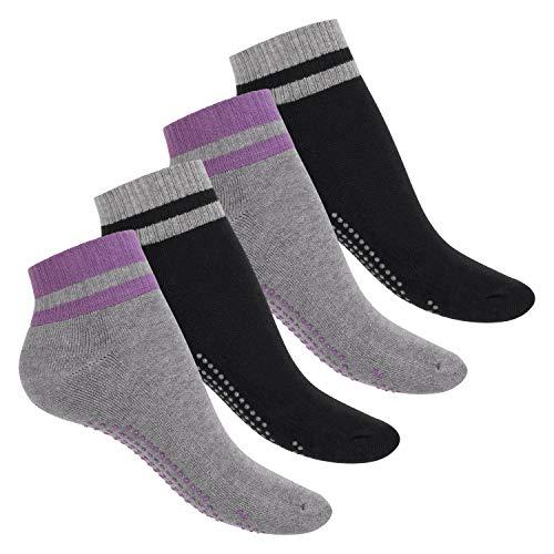 Celodoro Damen & Herren Yoga und Wellness Socken (4 Paar), ABS Söckchen mit Frottee-Sohle - Variante 1 39-42