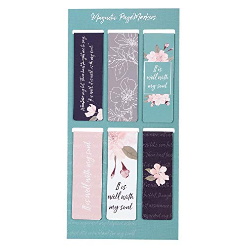 It is Well with My Soul Inspirational Magnetic Bookmarks with Inspirational Designs, Set of 6 Bookmark Pagemarkers