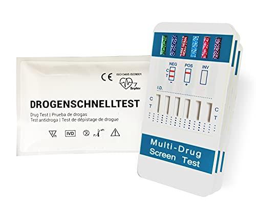 2 Stück | Multi 6-in-1 Drogentest | THC, COC, AMP, MOP, MDMA & BZO | Urintest Schnelltest by 7 Zepter