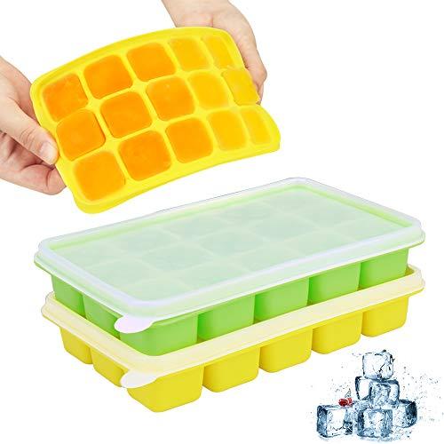 UTAKE Silikon eiswürfelformen 2 Stück eiswürfelform silikon mit Deckel, Ice Cube Tray BPA frei, 15-Fach Eiswuerfel Eiswürfelform für Family, Party und Bars