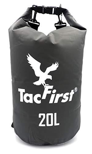 TacFirst Dry Bag Seesack, wasserdichter Packsack mit Fast-Fold Verschluss, Schwarz, 20 Liter, 20L