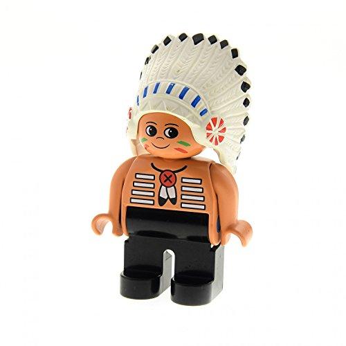 1 x Lego Duplo Figur Mann Indianer Häuptling Hose schwarz Feder Kopf Schmuck creme weiss (American Indian Chief) 4555pb257
