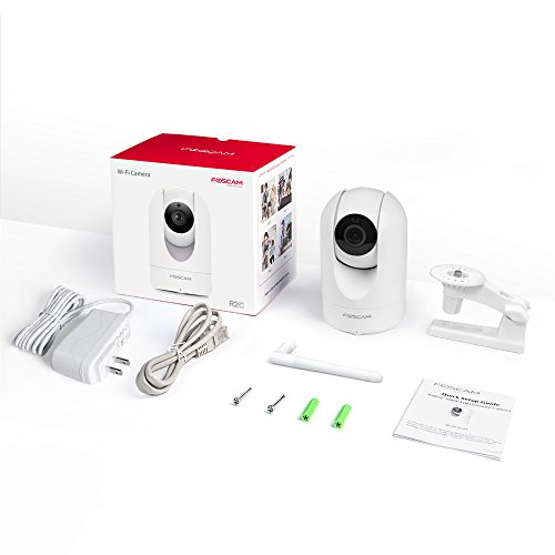 Foscam Security Camera WiFi IP Home Camera,R2C 1080P HD Baby Monitor Wireless Pet Camera with AI Human & Sound Detection, Free Cloud, 2-Way Audio,Works with Alexa, Pan/Tilt, Night Vision, White
