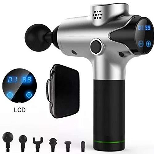 Wqzsffgg Professioneller Vibrationsmassagepistolen-LCD-Touchscreen, schnurloses, leises Schlagzeug, Massagepistole Mit 6 Massageköpfen