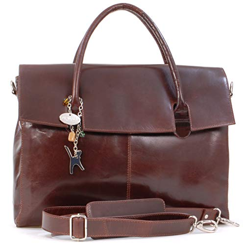 Catwalk Collection Handbags - Ladies Extra Large Leather Briefcase/Shoulder/Cross Body Bag - Women's Organiser Work Bag - Laptop Bag With Padded Compartment - HELENA - Brown