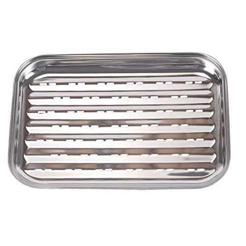 Kacniohen Bandeja para Asar, Acero Inoxidable Rectangular Placa Barbacoa, Horno Grill Pan, Pan Vegetal Cooker Grill, de Plata