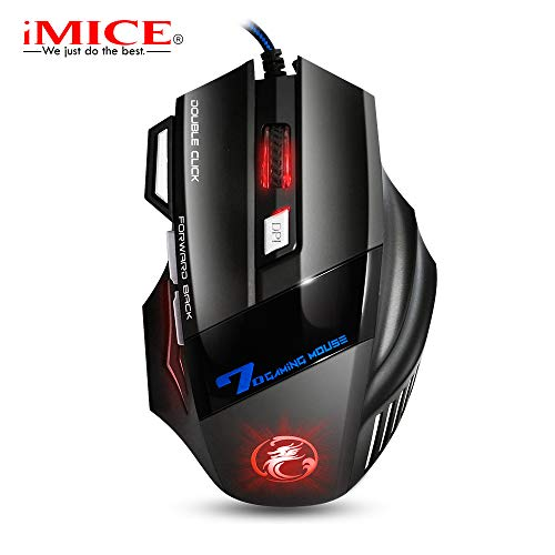 Ayete Ratón Gaming USB Ratón Gamer con Cable hasta 2400 dpi Ratón Ergonómico Raton Gaming Compatible con Windows 7, 8, 10, XP, Vista, ME, 2000 y Mac OS (X7)