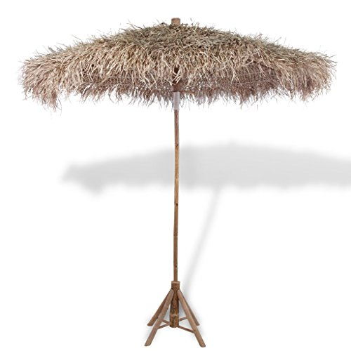Anself Sonnenschirm Schirm aus Bambus mit Banenblätterdach 270 cm