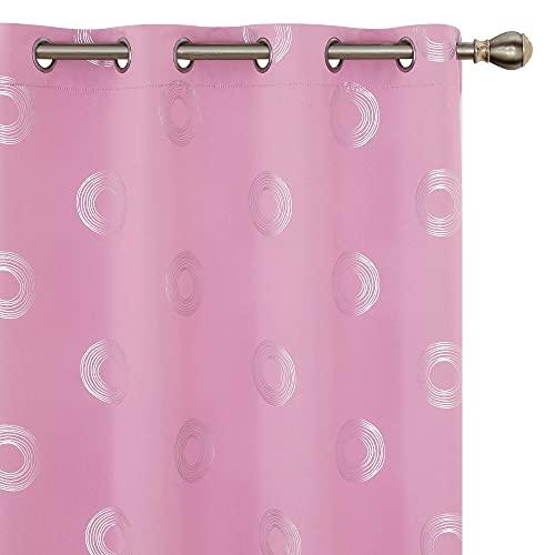 Amazon Brand - Umi Cortinas Salon Opaca de Dibujos Rquillos con Ollaos 140x260cm Rosa