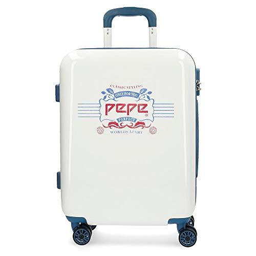 Pepe Jeans Luggage Maleta de cabina Blanco 40x55x20 cms Rígida ABS Cierre combinación 37L 2,6Kgs 4 Ruedas dobles Equipaje de Mano