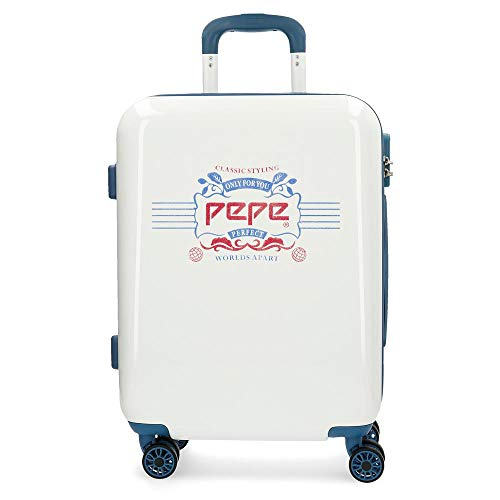 Pepe Jeans Luggage Maleta de cabina Blanco 40x55x20 cms Rígida ABS Cierre...