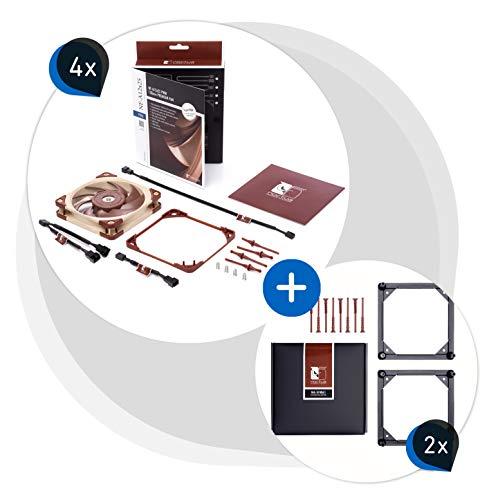 Noctua Paquete: 4X NF-A12x25 PWM, Ventilador Silencioso, 4 Pines (120 mm, Marrón) + 2X NA-SFMA1 Adaptores para el Montaje de Ventiladores (4 Unidades, Negro)
