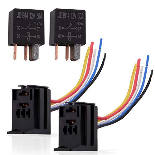 Ehdis® 5 Fils Pin Relais Câble Socket Harnais Connecteur 12VDC 30A SPDT Multi-Purpose Lourd Kits Relais Duty Standard pour Voiture Automobile, Paquet de 2