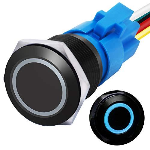 """mxuteuk 16mm Verriegelungs-Druckschalter 1NO 1NC SPDT EIN/AUS Schwarzes Metallgehäuse mit 12V blau LED-Ring mit Kabelstecker Geeignet für 5/8 """"Montageloch L-16-O-B-BU"""