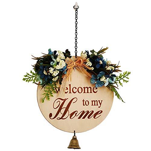 HUTTOBOY Willkommensschild für Haustür Blume Willkommen Spruch vor dem Schlafzimmer Antik Holz Willkommensspruch an der Haustür Willkommensspruch hängend außen blau