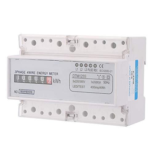 SANON Medidor de Vatios Probador 220 / 380V 20-80A Consumo de Energía Digital Medidor de Energía Eléctrica Trifásico Medidor de Kwh