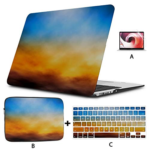 MacBook Air 13 Inch Case 2020 2019 2018, Editable Vector Illustration Bank Clouds Sunset Plastic Hard Shell,Sleeve Bag,Keyboard Cover,Screen Protector Compatible with MacBook Pro 13 Inch USB-c