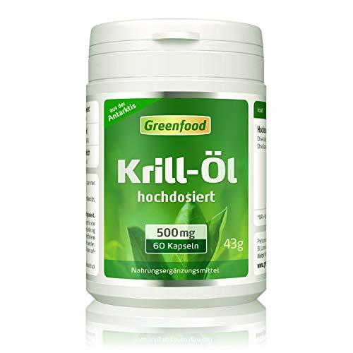 Greenfood Krill-Öl, 500 mg, 60 Kapseln, hochdosiert – reich an EPA und DHA, für ein starkes Herz und gute Augen. Fördert Gedächtnis und Konzentration. OHNE künstliche Zusätze. Ohne Gentechnik