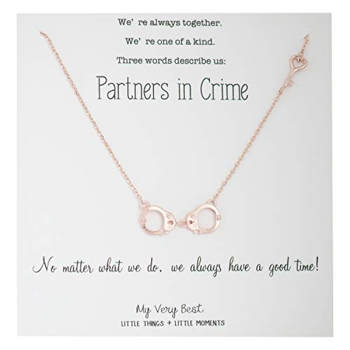 My Very Best Partners in Crime Handcuff BFF Necklace (Rose Gold Plated Brass)