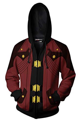 MingoTor Herren Coat DMC May Cry Dante Kapuzenpullover Reißverschluss Mantel Hoodie mit Kapuze Kapuzenjacke Hooded Pulli Sweatshirt Lange Ärmel Unisex