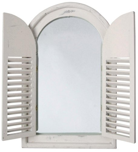 Esschert Design - Espejo Envejecido de Madera y Cristal con Puertas francesas, WD05, 37x5x59cm - Color Blanco