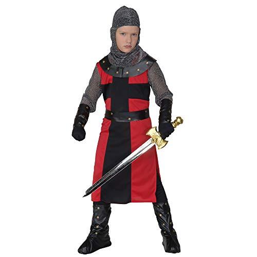 Widmann 55487 - Kinderkostüm schwarzer Ritter, Langes Gewand, Gürtel, Armbänder, Helm und Überstiefel