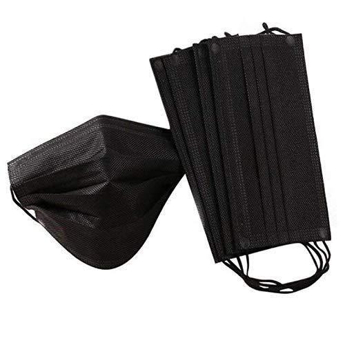 ImSky 50 Piece 4 Strati di protezione per il viso con passanti per le orecchie, protezione della respirazione a prova di polvere usa e getta, Nero attrezzatura antipolvere esterna