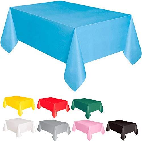 DIWULI, große Tischdecke blau, Tafeldecke 183 x 137 cm rechteckig, Tafeltuch, einweg Tischwäsche, Kunststoff-Tischdecke abwaschbar Kinder-Geburtstag, Mädchen Junge, Motto-Party, Dekoration, Deko