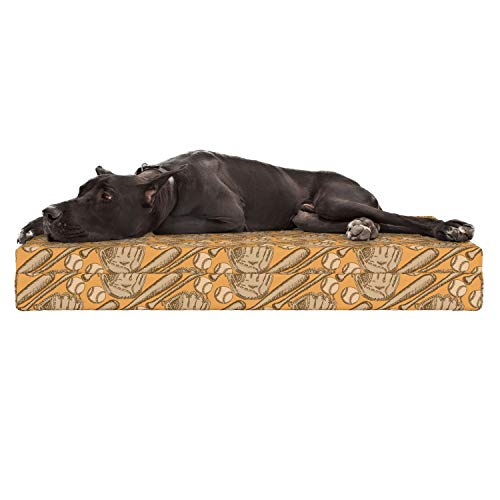 Lunarable Baseball Dog Bed, Sketch Bat Gloves and Balls Vintage Design Inspirations American Sports, Durable Washable Mat with Decorative Fabric Cover, 48