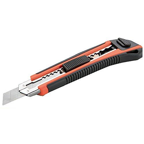Alyco 170812 HR 170812-Cutter de guia Metalica 9 mm Mango bimaterial con 3 cuchillas, Nero